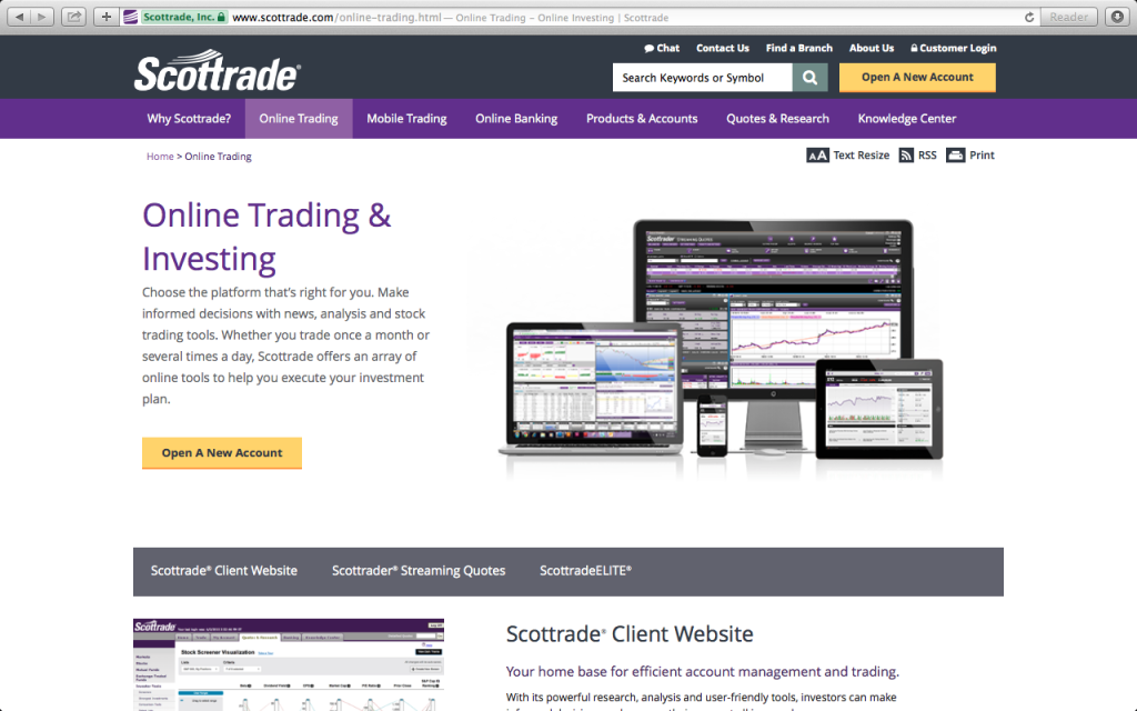 screenshot of Scottrade's home page how to invest online